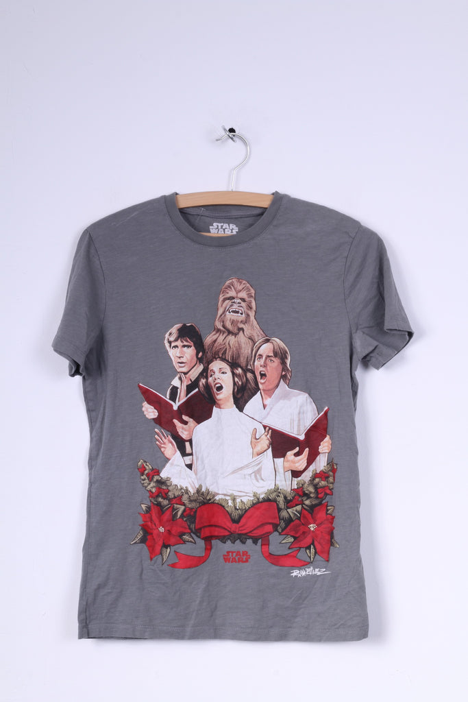 Tu Star Wars Mens S T-Shirt Grey Cotton Crew Neck Graphic Shirt