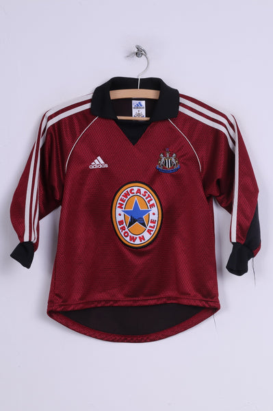 Adidas Newcastle United Boys S 128 Polo Shirt Marron Football Club Sportswear