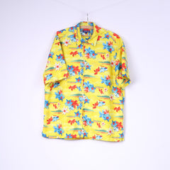 Review Mens XL Casual Shirt Flowers Print Yellow Short Sleeve Top