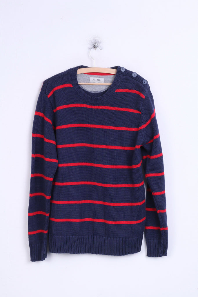 Etirel Campus Sportswear Mens L Jumper Crew Neck Striped Navy Cotton