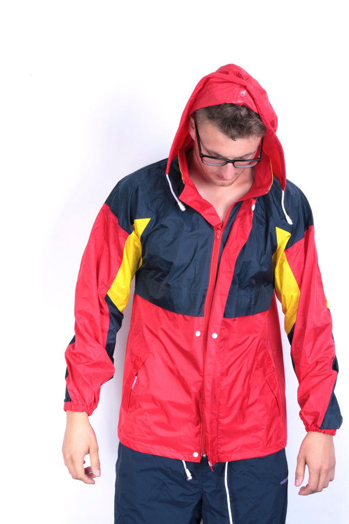Hamlet Mens S Jacket Waterproof Full Zipper Red Hood Nylon - RetrospectClothes