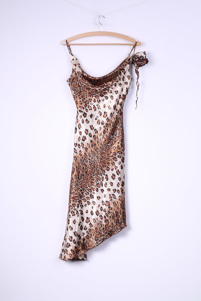 Pretty Women Womens 36 S Spaghetti Straps Dress Animal Print Brown