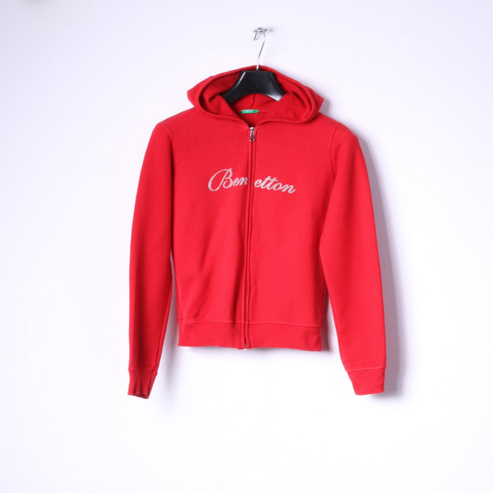 United Colors Of Benetton Girls S 160 14 Age Sweatshirt Red Cotton Zip Up Logo Hoodie
