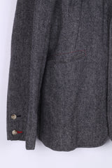 Guru Mens XL Blazer Jacket Herringbone Grey Jam Session Single Breasted Wool
