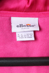 Ellesse italia Womens 12 S Sweatshirt Pink Cotton Edita Zip Up Suede Hoodie