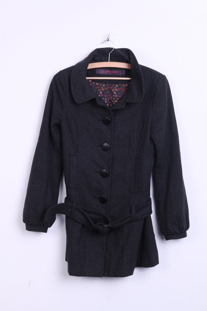 Clockhouse Womens 34 S Coat Jacket Dark Grey Wool Long Collar - RetrospectClothes