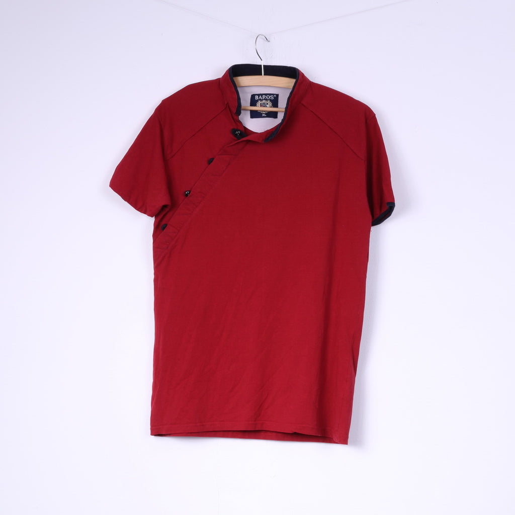 Baros Mens XL Shirt Red Stand Up Collar Cotton Top