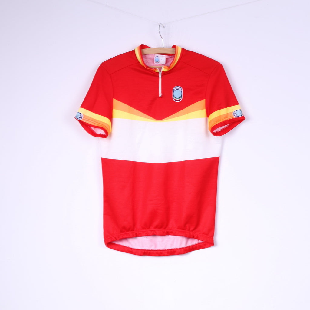 Seb Mens XL Cycling Shirt Red Striped Zip Neck Sportswear Top Italy
