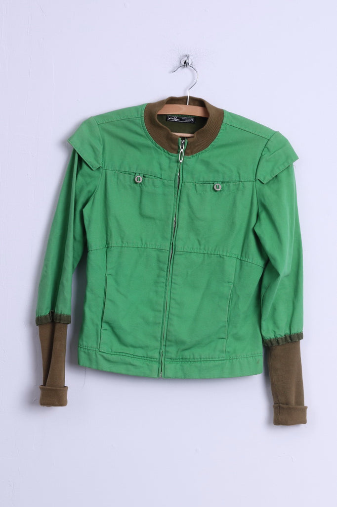 Oakley Womens XS Jacket Green Cotton Zip Up Lightweight Spring Top