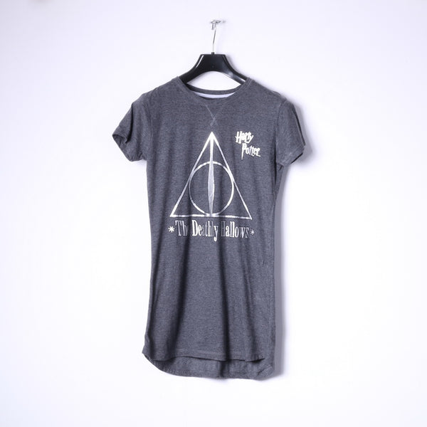 Love To Lounge Womens XS Night Shirt Long Grey Cotton Harry Potter The Deathly Hallows