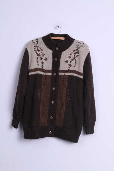 Affections Womens M/L Cardigan Jacket Brown Wool Blended Shoulder Pads Retro Sweater