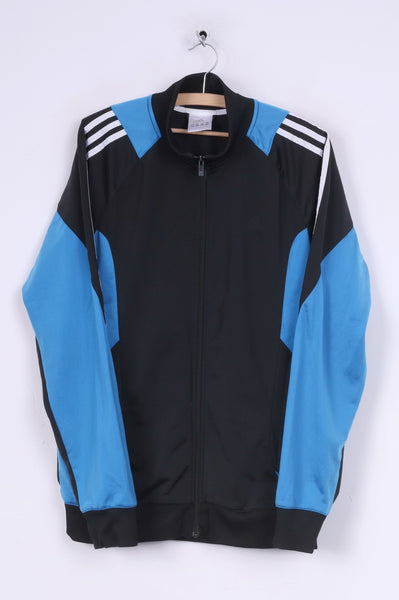 Adidas Mens 42/44 L Sweatshirt Shiny Full Zipper Sportswear Black Top