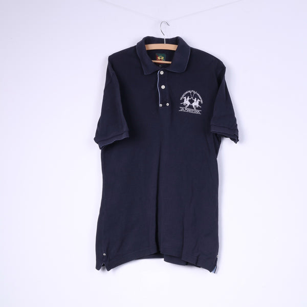 La Martina Mens XL Polo Shirt Navy Cotton Buttons Detailed Top