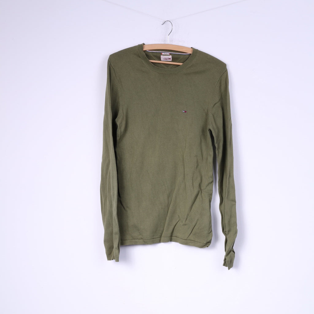 Hilfiger Denim Mens S Lightweight Jumper Sweater Green Crew Neck Top
