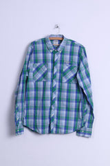 Hilfiger Denim Mens XL (L) Casual Shirt Blue Cotton Checkered Button Down Collar