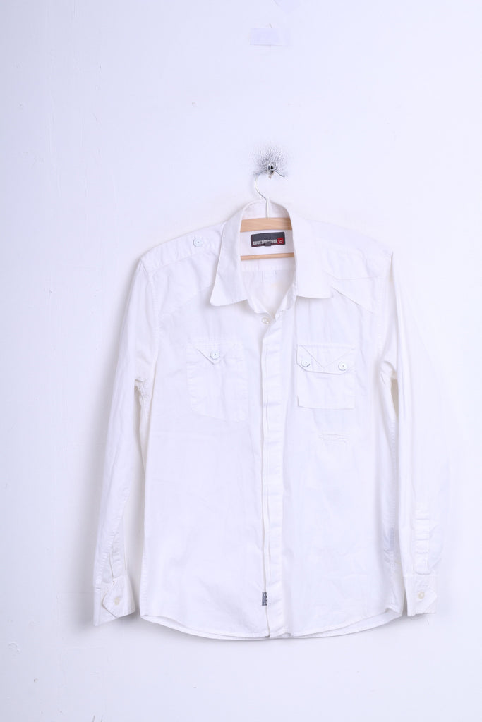 Duck and Cover Mens M Casual Shirt White Long Sleeve Cotton