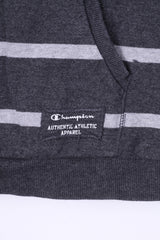 Champion Mens XL Shirt Grey Cotton Athlete Hooded Striped Sportswear Top