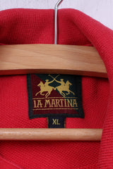 La Martina Mens XL Polo Shirt Red Cotton Buttons Detailed Top