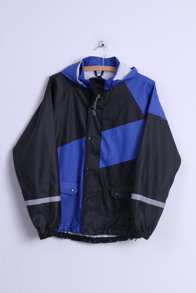 Adrenalin Boys 170 Jacket Black Blue Full Zipper Hooded Outdoor Reflective Top