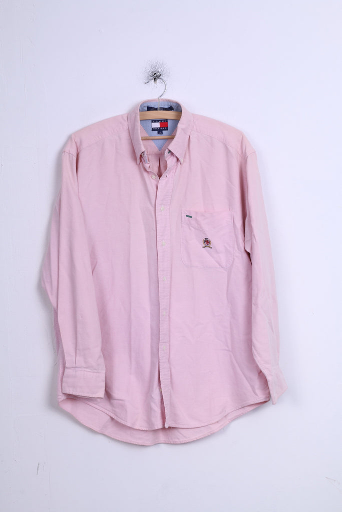 Tommy Hilfiger Mens S Casual Shirt Cotton Pink Button Down Collar Long Sleeve