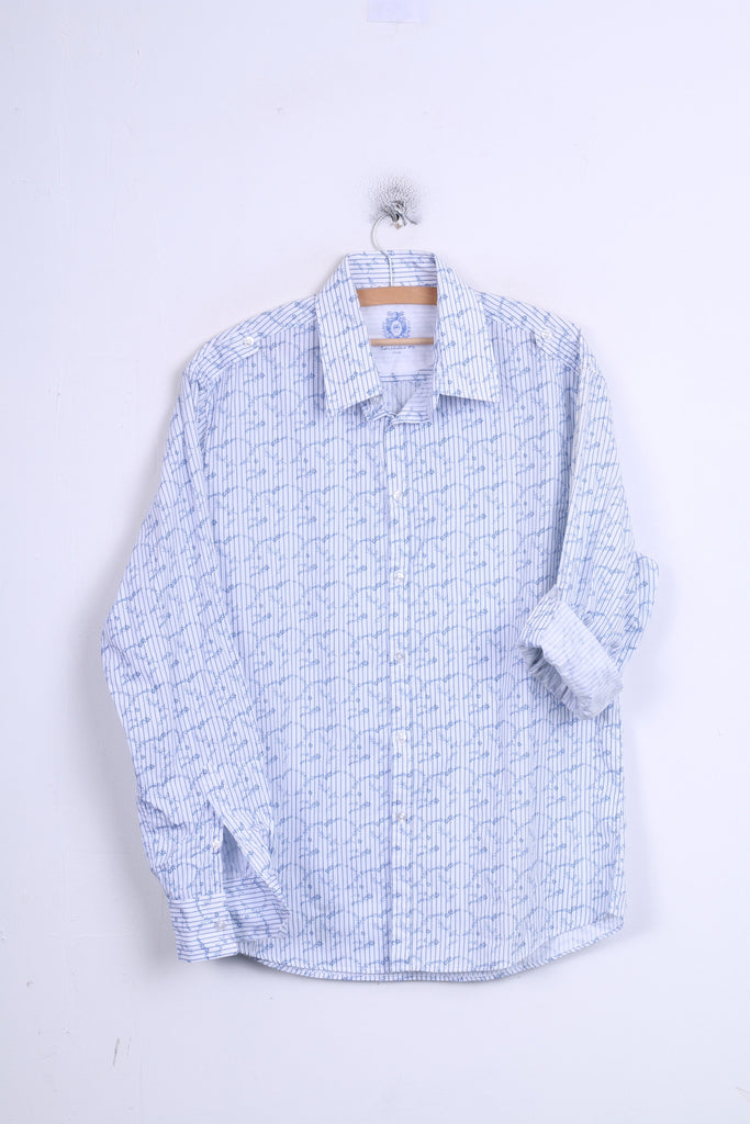 DENIM 73 Mens L Casual Shirt Long Sleeve White Striped Cotton Standard Collar