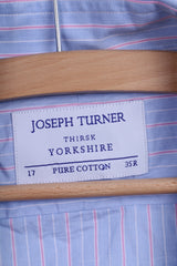 Joseph Turner Mens 35 L Casual Shirt Cuffs Blue Cotton Striped Long Sleeve