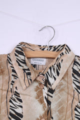 Canada C&A Womens 46 XL Casual Shirt Short Sleeve Beige Vintage Top