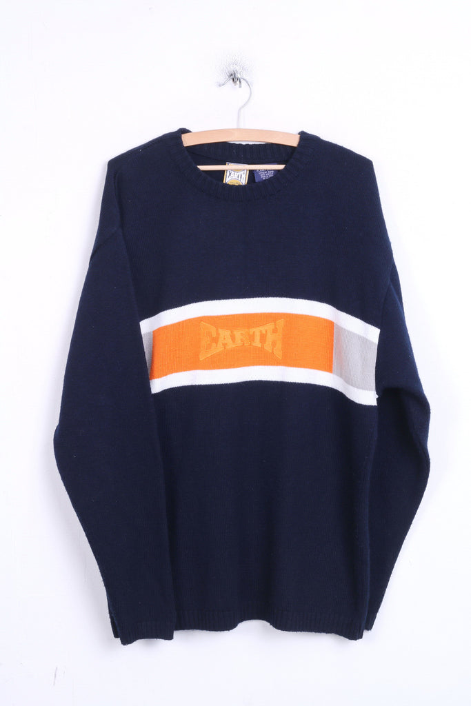 EARTH Mens XL Jumper Sweater Crew Neck Navy India - RetrospectClothes