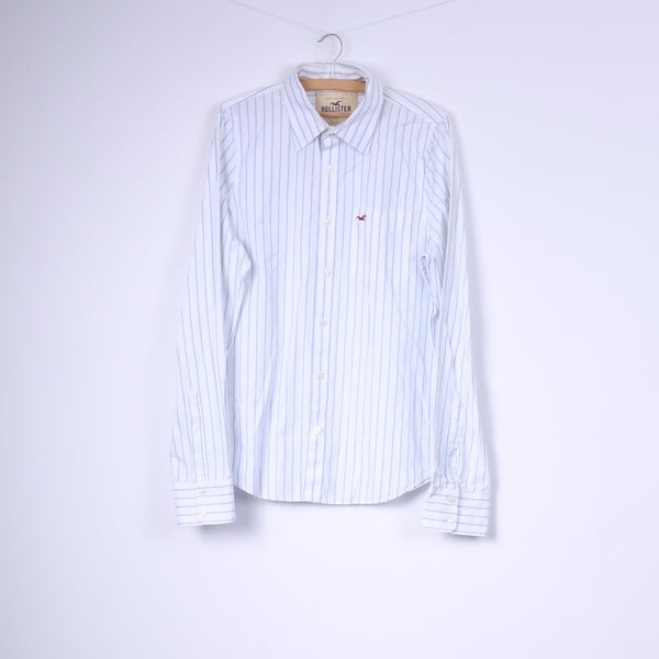 Hollister California Mens XL Casual Shirt Striped White Long Sleeve Cotton Top