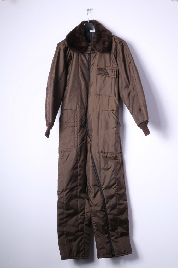 Sears Work Leisure Womens 42 Short Ski Suit Brown Nylon One Piece Winter Snow Suit