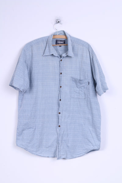 KAN Mens XXL Casual Shirt Cotton Blue Checkered Short Sleeve