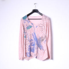 GAS Womens S Long Sleeved Shirt Pink Cotton thin Material Graphic Stretch Top