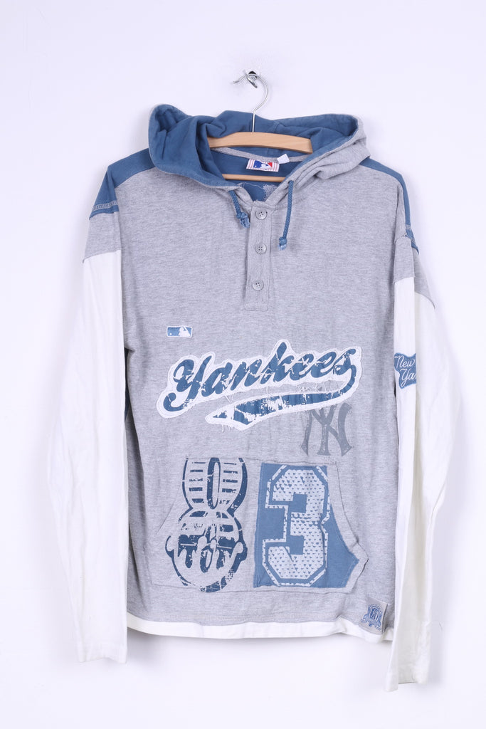 Major League Baseball Mens M Sweatshirt Hooded Grey Sport Cotton Yankees