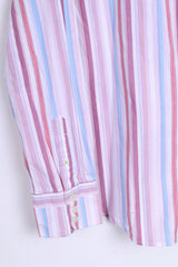 FULLCIRCLE Mens XL Casual Shirt Pink Striped Cotton Standard