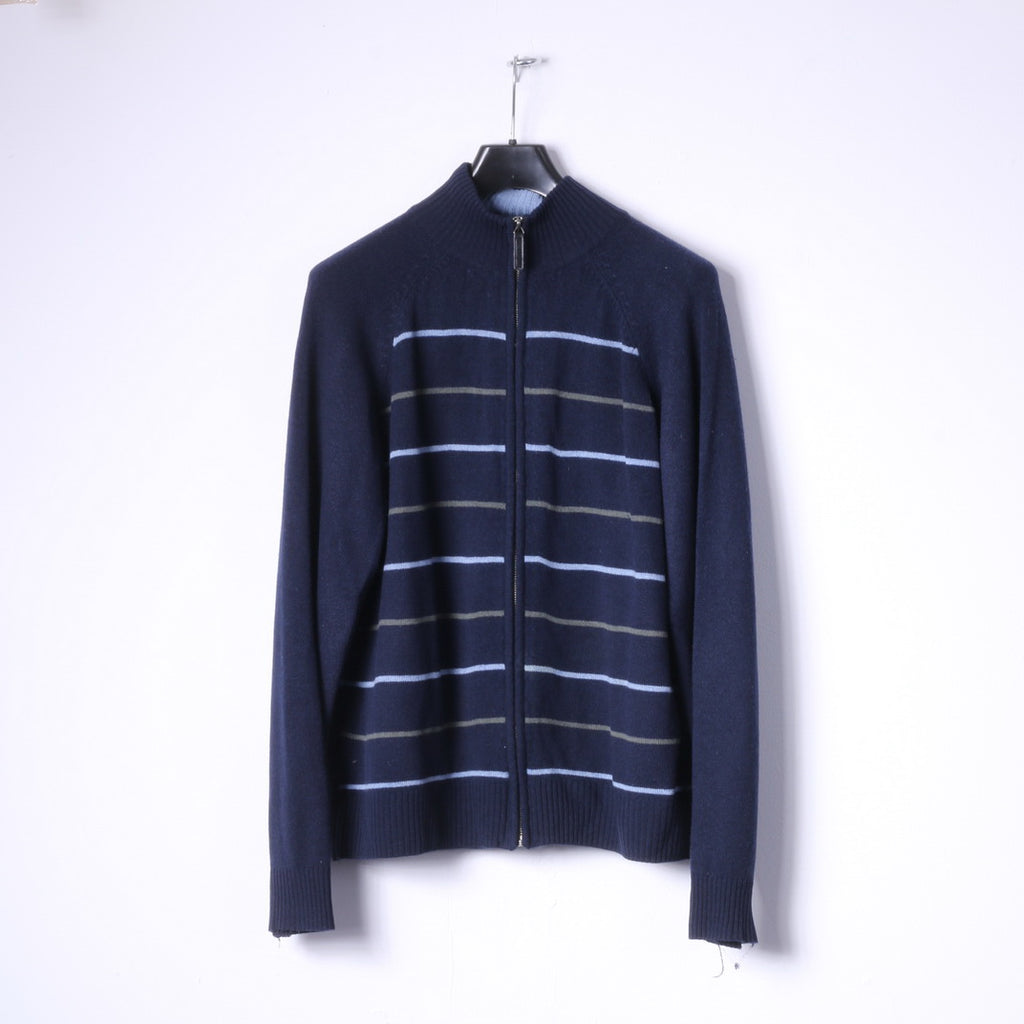 Guise Mens XL Sweater Navy Striped Wool Cashmere Blend Zip Up Cardigan