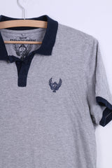 Ringspun Mens L (S) Polo Shirt Grey Cotton Button Neck Top
