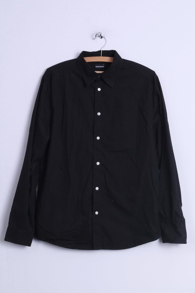 Bruno Banani Mens S Casual Shirt  Black Cotton Silver Buttons Long Sleeve Embroidered Back