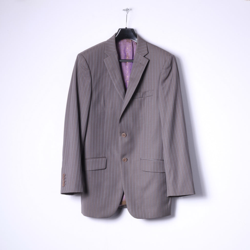 Ted Baker Elevated Mens 38L Blazer Grey Brown Striped Wool Single Breasted Jacket