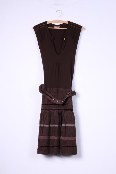 Bouche A Bouche Womens 36 S Mini Circle Dress Brown Cotton Belted