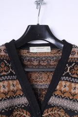 St Miechael Womens 20 50 Sweater Brown Acrylic Printed Button Front Cardigan