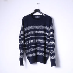 Lupa Menswear Mens XL Jumper Navy Acrylic Nordic Crew Neck Sweater