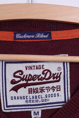 Superdry Vintage Mens M Jumper Cashmere Blend V Neck Burgundy Light Sweater