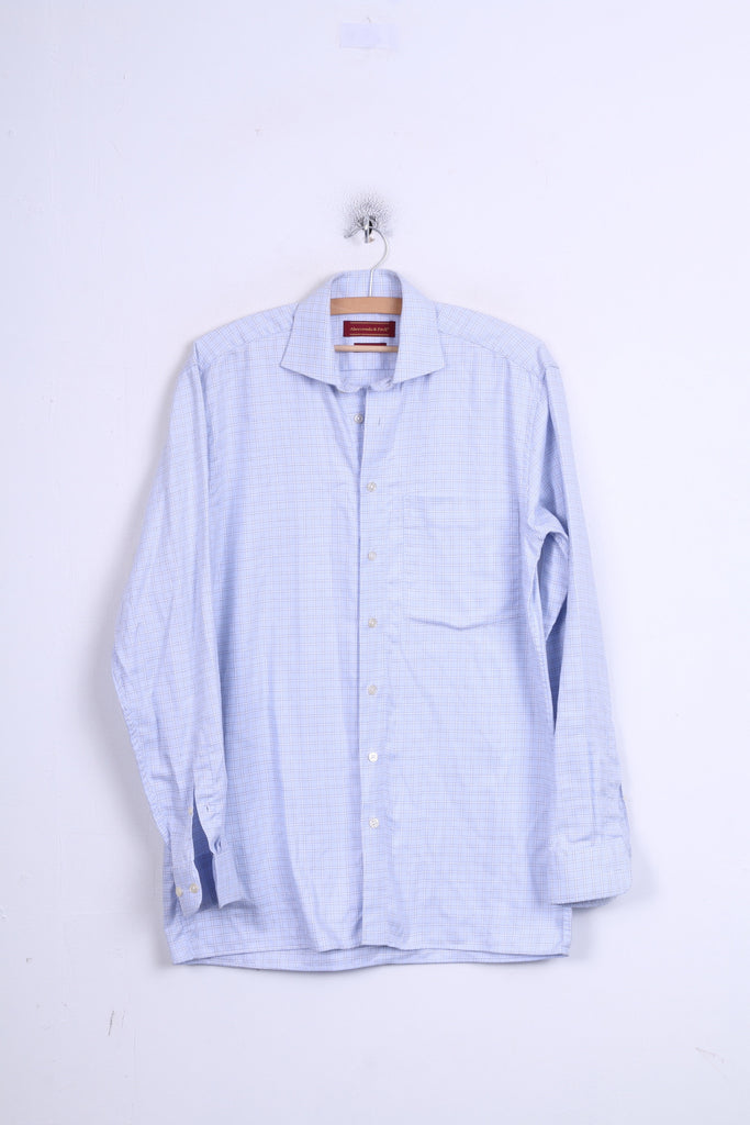 Abercrombi & Fitch Mens 38 M Casual Shirt Blue Check Long Sleeve