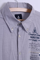 Gasstra Mens L Casual Shirt Long Sleeve Striped Button Down Collar Cotton