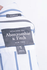 Abercrombie & Fitch Mens S Casual Shirt White Cotton Striped Muscle - RetrospectClothes