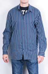 Michael Kors Mens XL Casual Shirt Striped Navy Blue Cotton Top - RetrospectClothes