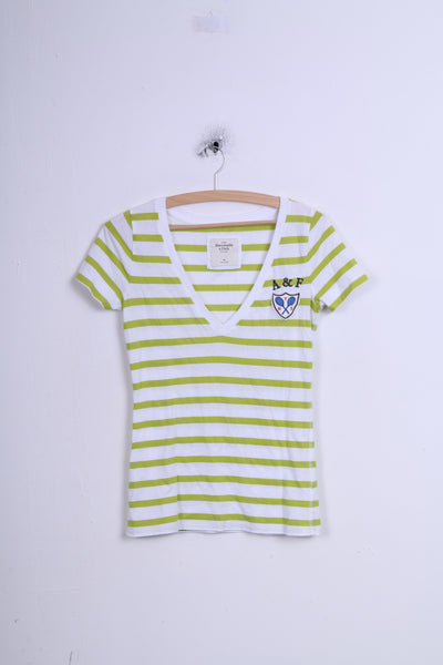 Abercrombie & Fitch Womens M Shirt Striped White V Neck Cotton