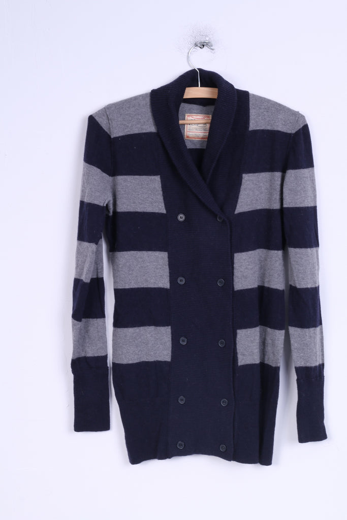 Replay Womens M Sweater Striped Blue Grey Buttoned Cardigan