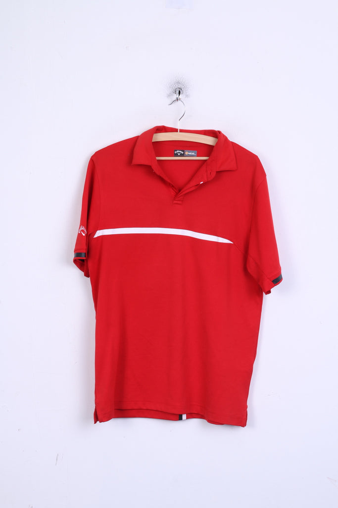 Callaway Golf Mens M Polo Shirt Red Button Neck