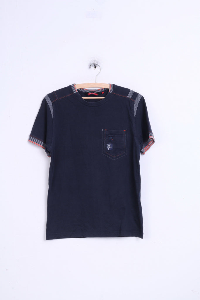 Duck and Cover Mens M Shirt Navy Cotton Crew Neck Ready for Antyhing
